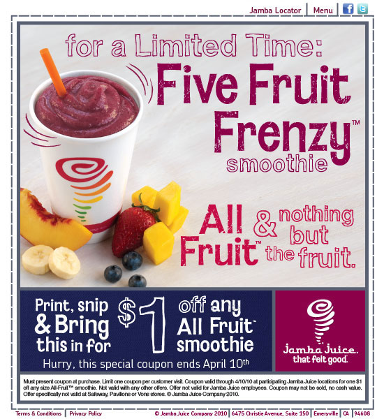 Jamba Juice - $1 off any All Fruit Smoothie